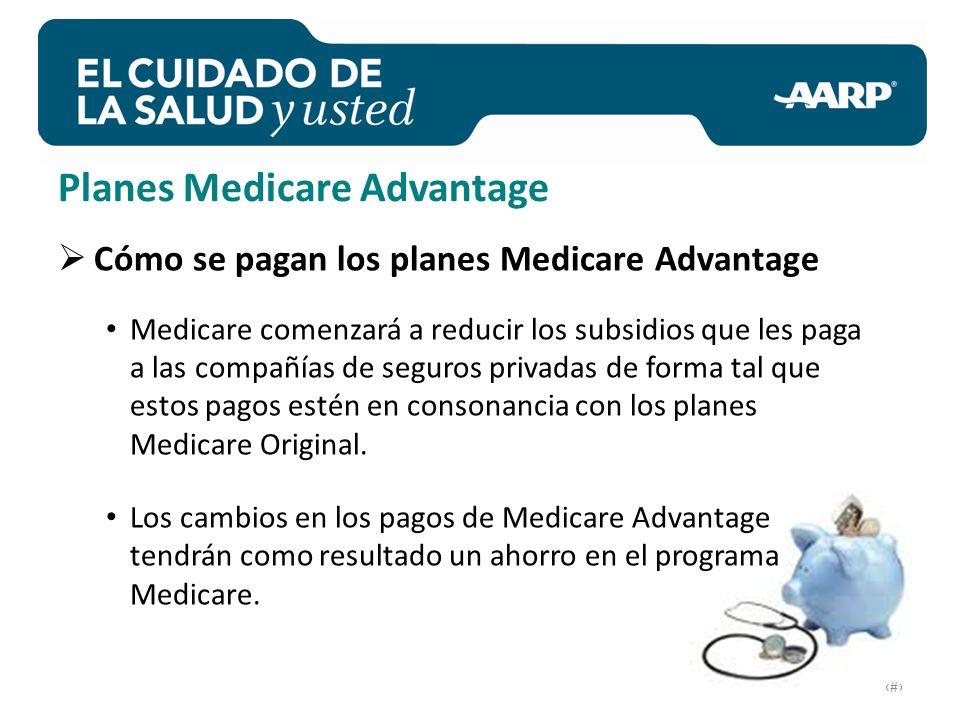 # Cómo se pagan los planes Medicare Advantage Medicare comenzará a reducir los subsidios que les paga a las compañías de seguros privadas de forma tal que estos pagos estén en consonancia con los planes Medicare Original.