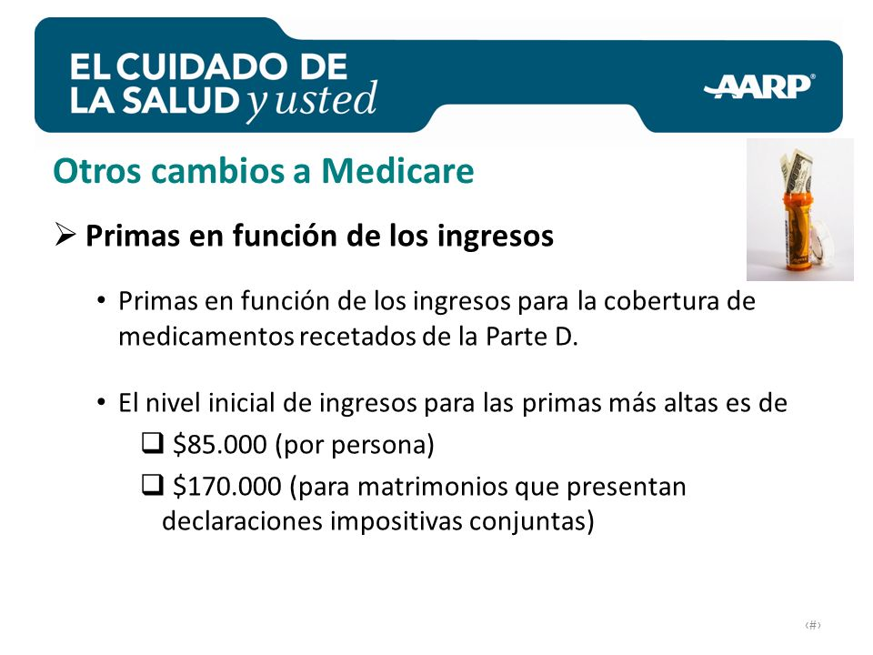 # Otros cambios a Medicare Primas en función de los ingresos Primas en función de los ingresos para la cobertura de medicamentos recetados de la Parte D.