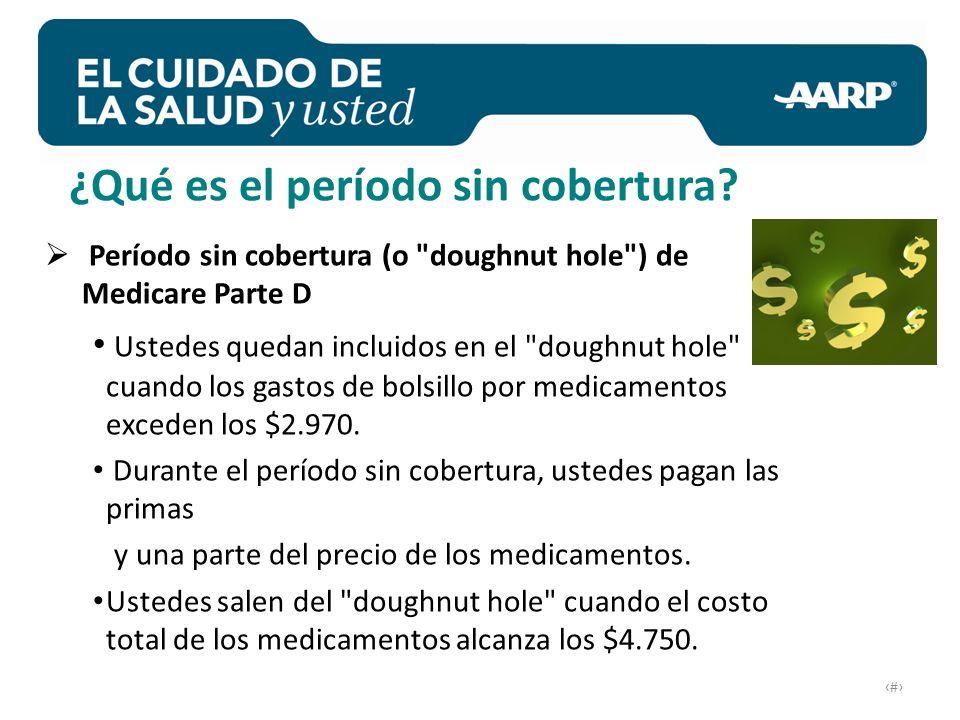 # Período sin cobertura (o doughnut hole ) de Medicare Parte D Ustedes quedan incluidos en el doughnut hole cuando los gastos de bolsillo por medicamentos exceden los $2.970.