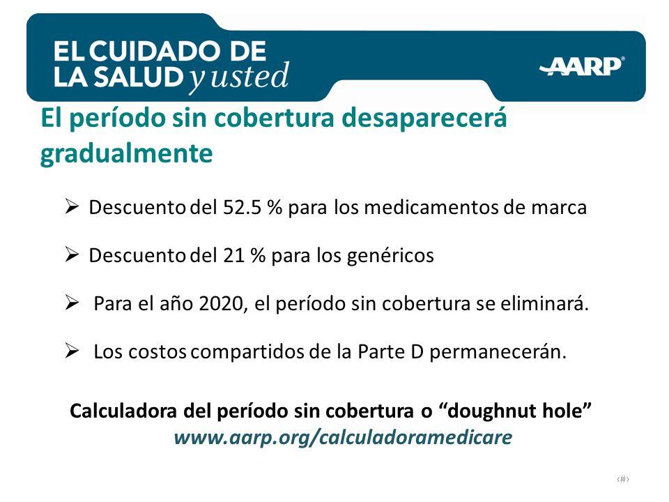 # Descuento del 52.5 % para los medicamentos de marca Descuento del 21 % para los genéricos Para el año 2020, el período sin cobertura se eliminará.