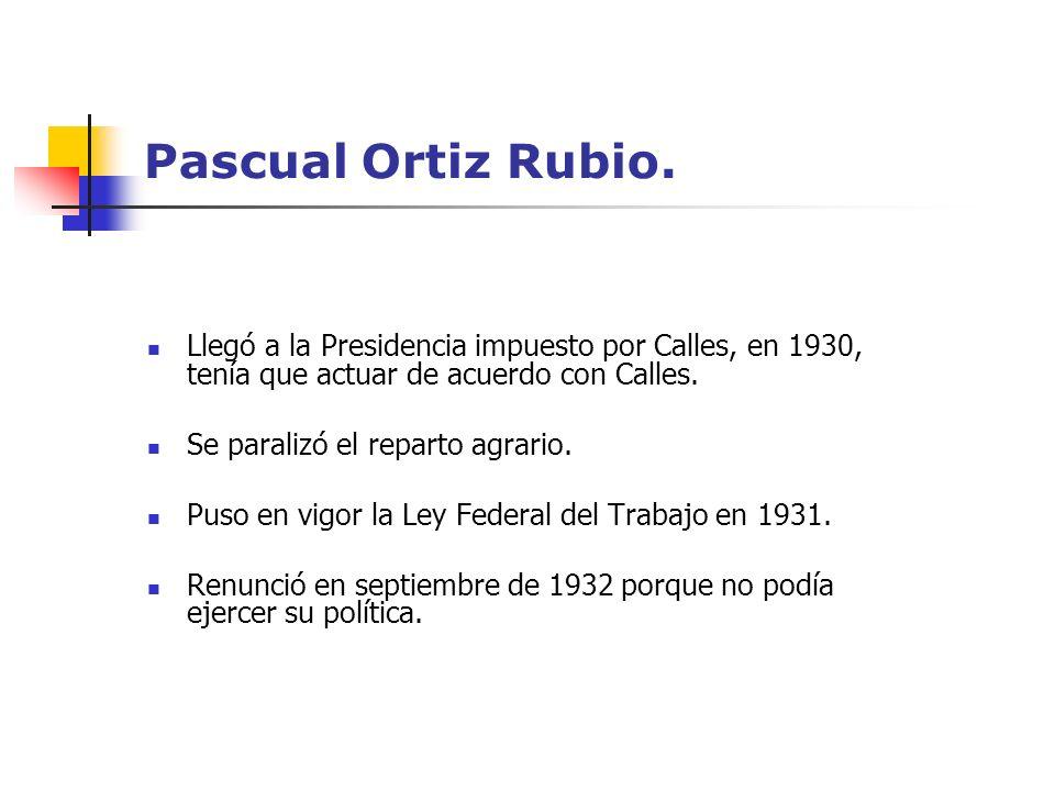 Pascual Ortiz Rubio. Llegó a la Presidencia impuesto por Calles, en 1930, tenía que actuar de acuerdo con Calles. Se paralizó el reparto agrario. Puso