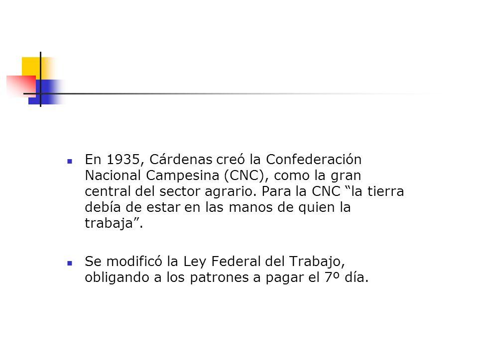 En 1935, Cárdenas creó la Confederación Nacional Campesina (CNC), como la gran central del sector agrario. Para la CNC la tierra debía de estar en las