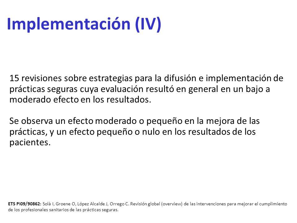 Implementación (IV) 15 revisiones sobre estrategias para la difusión e implementación de prácticas seguras cuya evaluación resultó en general en un ba