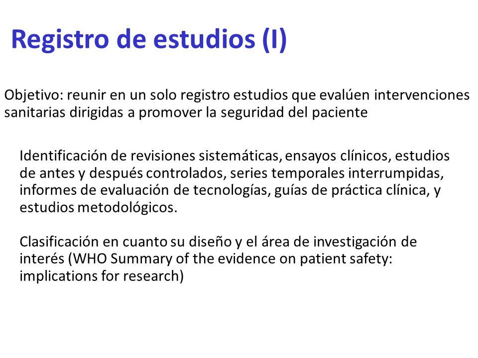 Identificación de revisiones sistemáticas, ensayos clínicos, estudios de antes y después controlados, series temporales interrumpidas, informes de eva