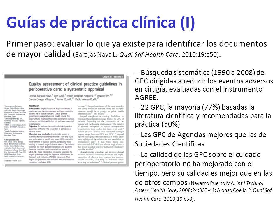Guías de práctica clínica (I) Primer paso: evaluar lo que ya existe para identificar los documentos de mayor calidad (Barajas Nava L. Qual Saf Health