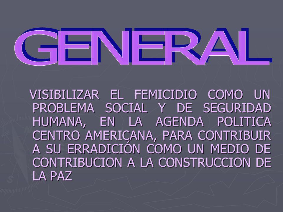VISIBILIZAR EL FEMICIDIO COMO UN PROBLEMA SOCIAL Y DE SEGURIDAD HUMANA, EN LA AGENDA POLITICA CENTRO AMERICANA, PARA CONTRIBUIR A SU ERRADICIÓN COMO UN MEDIO DE CONTRIBUCION A LA CONSTRUCCION DE LA PAZ VISIBILIZAR EL FEMICIDIO COMO UN PROBLEMA SOCIAL Y DE SEGURIDAD HUMANA, EN LA AGENDA POLITICA CENTRO AMERICANA, PARA CONTRIBUIR A SU ERRADICIÓN COMO UN MEDIO DE CONTRIBUCION A LA CONSTRUCCION DE LA PAZ