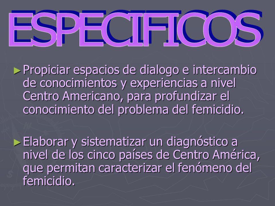 Propiciar espacios de dialogo e intercambio de conocimientos y experiencias a nivel Centro Americano, para profundizar el conocimiento del problema de
