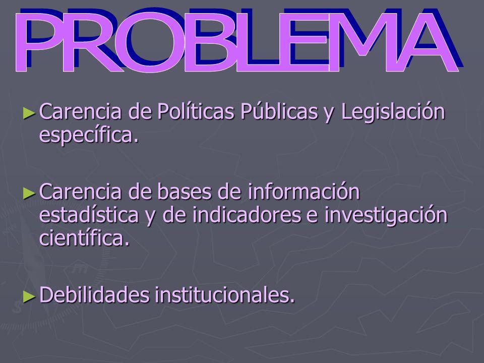 Carencia de Políticas Públicas y Legislación específica. Carencia de Políticas Públicas y Legislación específica. Carencia de bases de información est