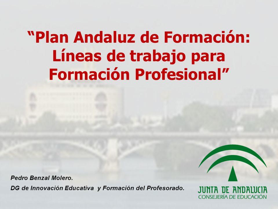 Pedro Benzal Molero. DG de Innovación Educativa y Formación del Profesorado. Plan Andaluz de Formación: Líneas de trabajo para Formación Profesional
