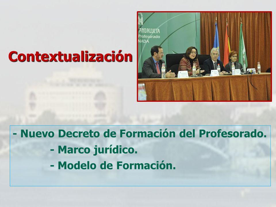 Contextualización - Nuevo Decreto de Formación del Profesorado. - Marco jurídico. - Modelo de Formación.