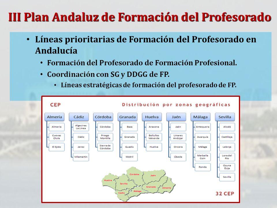 Líneas prioritarias de Formación del Profesorado en Andalucía Formación del Profesorado de Formación Profesional. Coordinación con SG y DDGG de FP. Lí