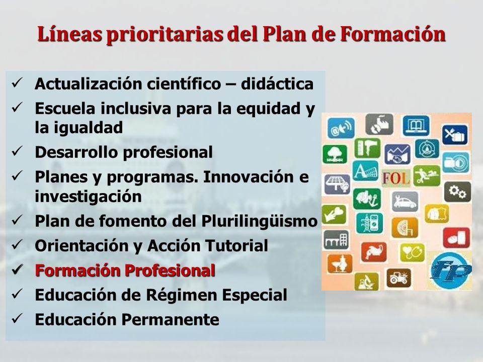 Líneas prioritarias del Plan de Formación Actualización científico – didáctica Escuela inclusiva para la equidad y la igualdad Desarrollo profesional