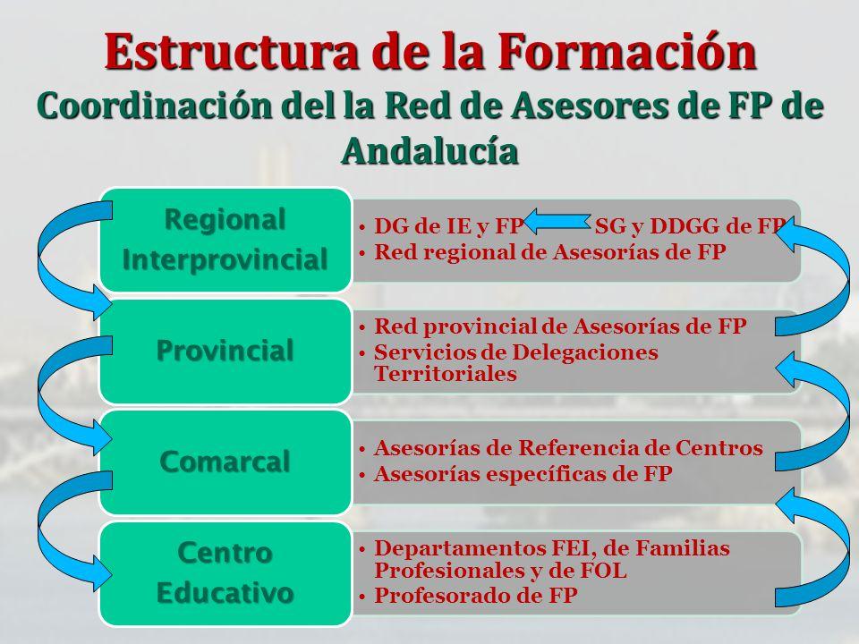 DG de IE y FP SG y DDGG de FP Red regional de Asesorías de FP RegionalInterprovincial Red provincial de Asesorías de FP Servicios de Delegaciones Terr