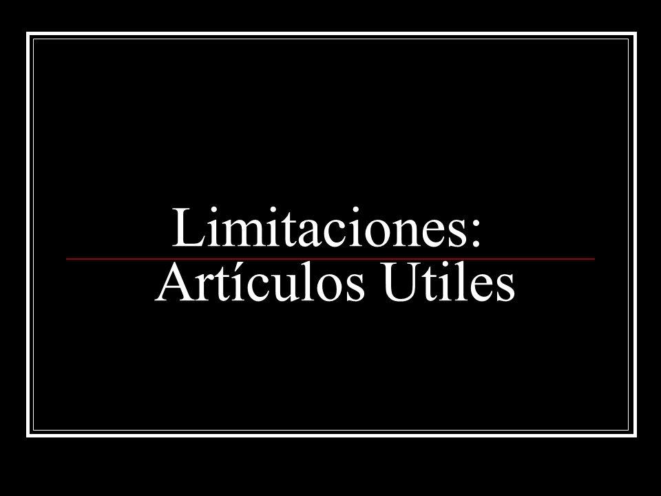 Limitaciones: Artículos Utiles