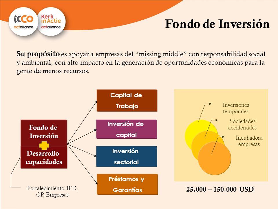 Fondo de Inversión Su propósito es apoyar a empresas del missing middle con responsabilidad social y ambiental, con alto impacto en la generación de o