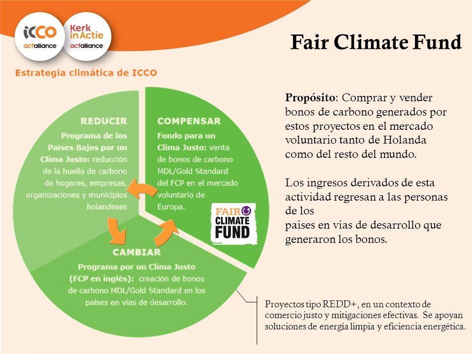 Fair Climate Fund Propósito : Comprar y vender bonos de carbono generados por estos proyectos en el mercado voluntario tanto de Holanda como del resto