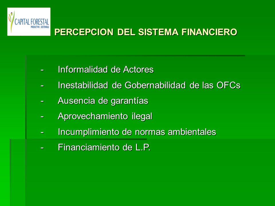 PERCEPCION DEL SISTEMA FINANCIERO PERCEPCION DEL SISTEMA FINANCIERO -Informalidad de Actores - Inestabilidad de Gobernabilidad de las OFCs - Ausencia
