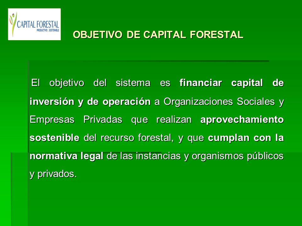 OBJETIVO DE CAPITAL FORESTAL OBJETIVO DE CAPITAL FORESTAL El objetivo del sistema es financiar capital de inversión y de operación a Organizaciones So