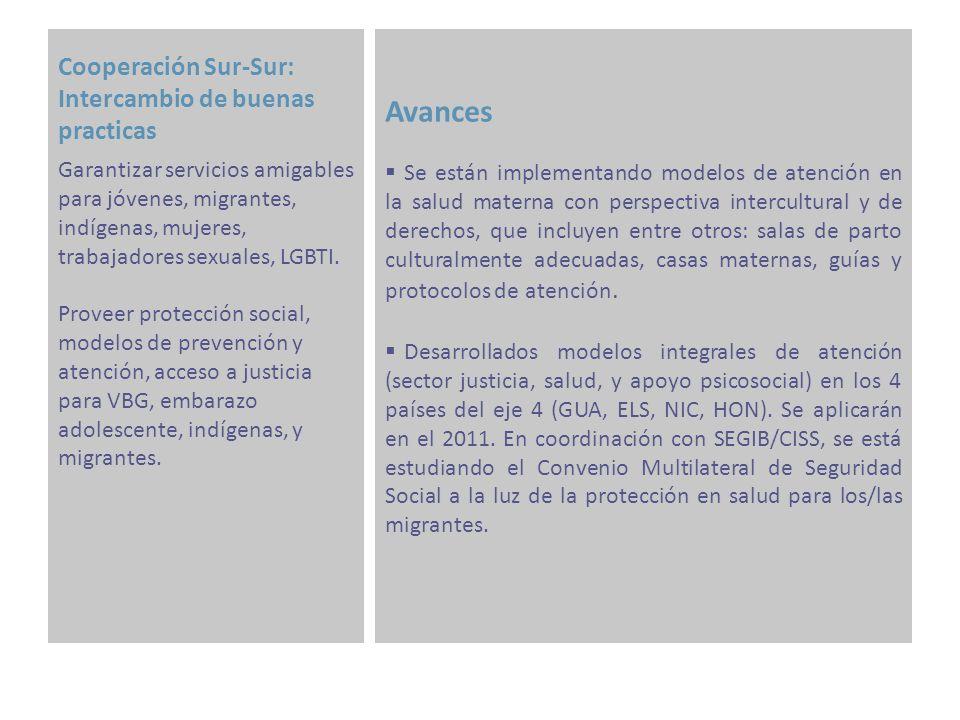 Fortalecimiento de Mecanismos de Coordinación Avances A nivel regional, se ha consolidado la dinámica de trabajo integrado en el marco del Task Force del Fondo Español en el que participan los 4 Ejes.