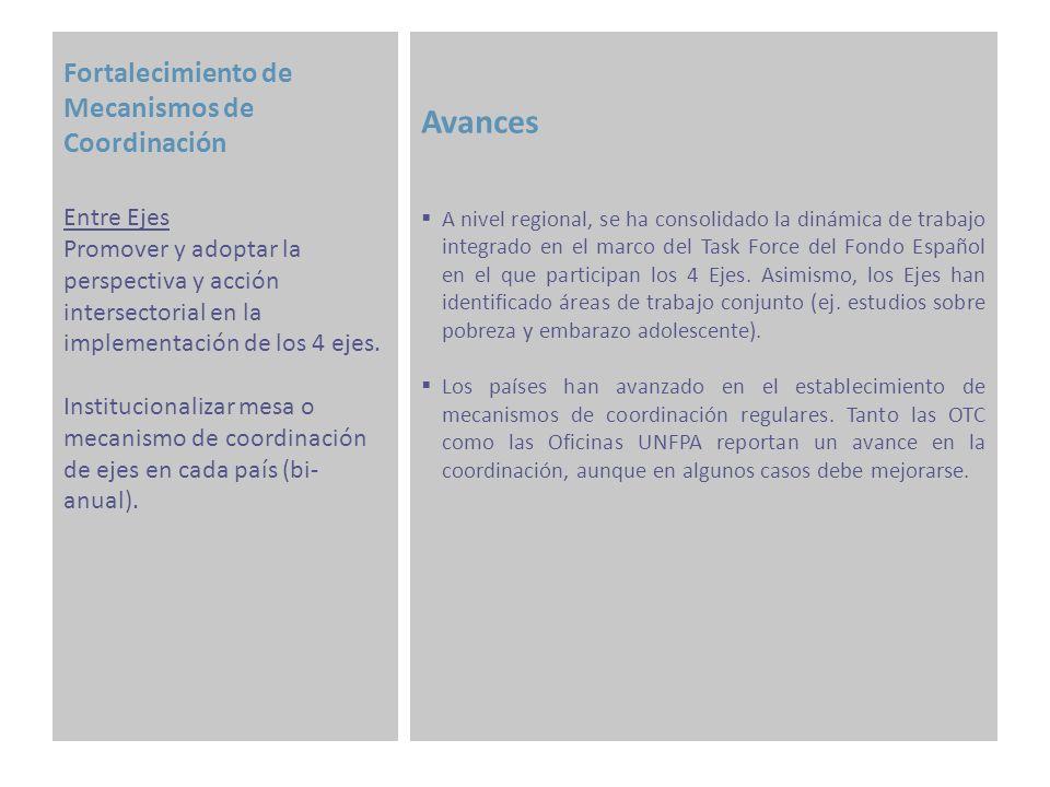 Fortalecimiento de Mecanismos de Coordinación Avances Se realizó la Comisión de Seguimiento entre UNFPA LACRO y AECID en el mes de noviembre en Madrid, en la que se presentó el Informe de Avances para el período 2009-2010 y el POA 2011, el cual fue aprobado, habiendo sido compartido previamente con los socios regionales, las OTC y las Oficinas de UNFPA.