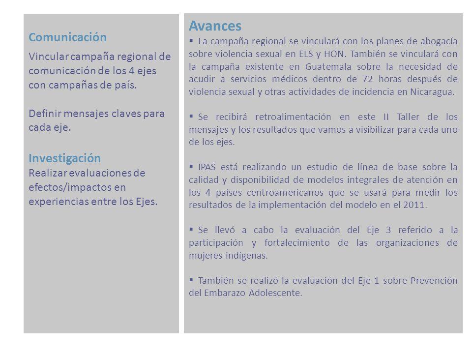 Comunicación Avances La campaña regional se vinculará con los planes de abogacía sobre violencia sexual en ELS y HON.