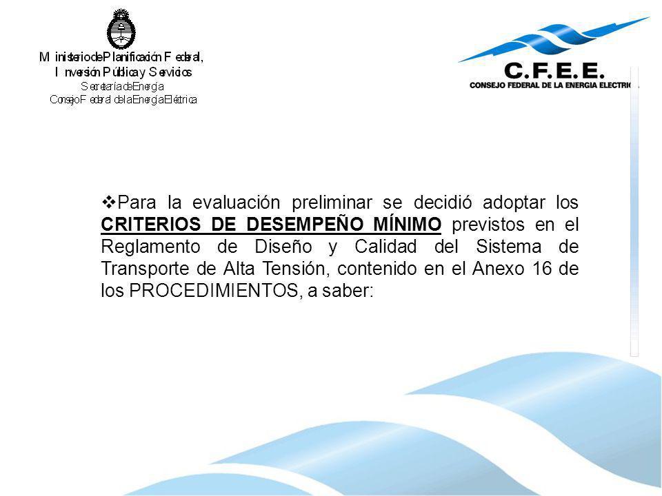 Para la evaluación preliminar se decidió adoptar los CRITERIOS DE DESEMPEÑO MÍNIMO previstos en el Reglamento de Diseño y Calidad del Sistema de Trans
