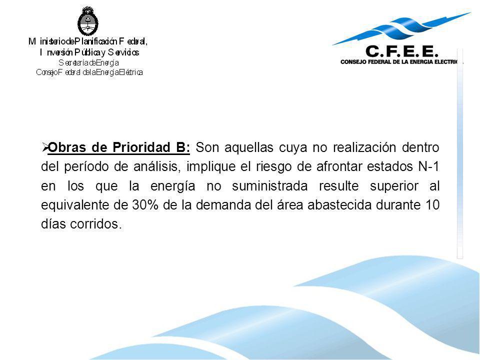 Obras de Prioridad B: Son aquellas cuya no realización dentro del período de análisis, implique el riesgo de afrontar estados N-1 en los que la energí