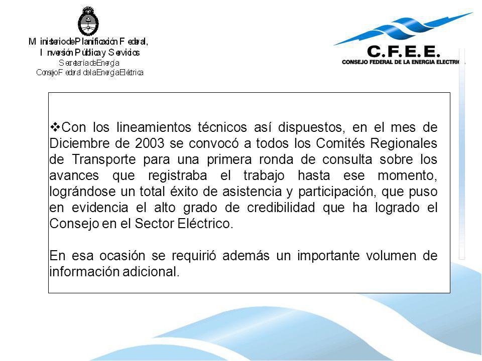 Con los lineamientos técnicos así dispuestos, en el mes de Diciembre de 2003 se convocó a todos los Comités Regionales de Transporte para una primera