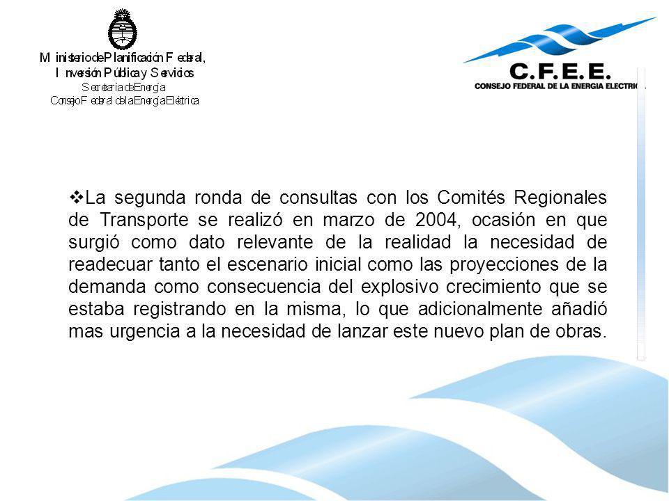 La segunda ronda de consultas con los Comités Regionales de Transporte se realizó en marzo de 2004, ocasión en que surgió como dato relevante de la re