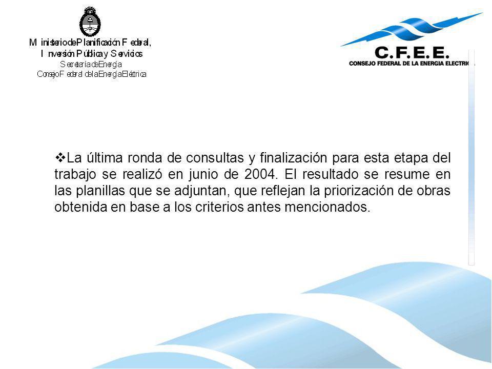 La última ronda de consultas y finalización para esta etapa del trabajo se realizó en junio de 2004. El resultado se resume en las planillas que se ad