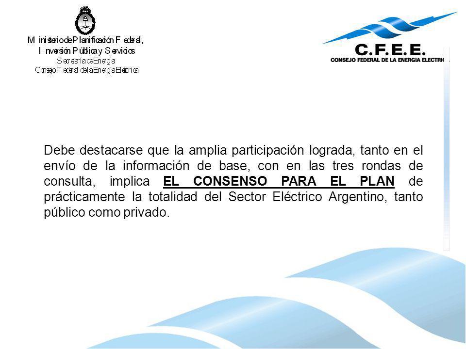 Debe destacarse que la amplia participación lograda, tanto en el envío de la información de base, con en las tres rondas de consulta, implica EL CONSE