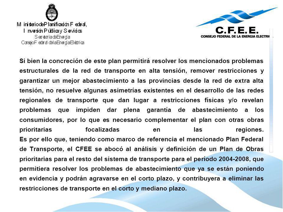 Si bien la concreción de este plan permitirá resolver los mencionados problemas estructurales de la red de transporte en alta tensión, remover restric