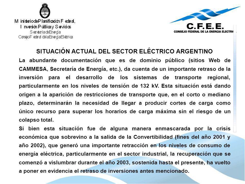 SITUACIÓN ACTUAL DEL SECTOR ELÉCTRICO ARGENTINO La abundante documentación que es de dominio público (sitios Web de CAMMESA, Secretaría de Energía, et