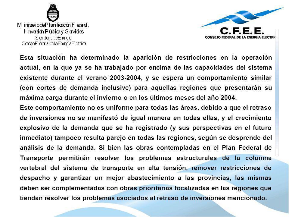 Esta situación ha determinado la aparición de restricciones en la operación actual, en la que ya se ha trabajado por encima de las capacidades del sis