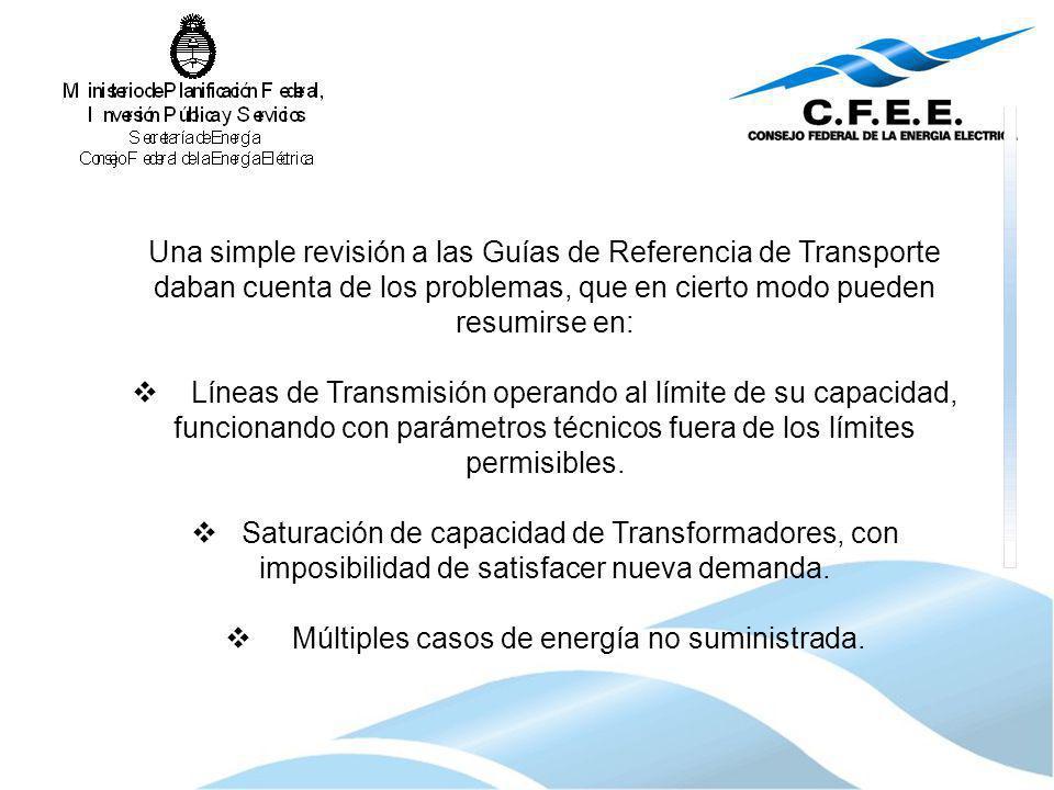 Una simple revisión a las Guías de Referencia de Transporte daban cuenta de los problemas, que en cierto modo pueden resumirse en: Líneas de Transmisi