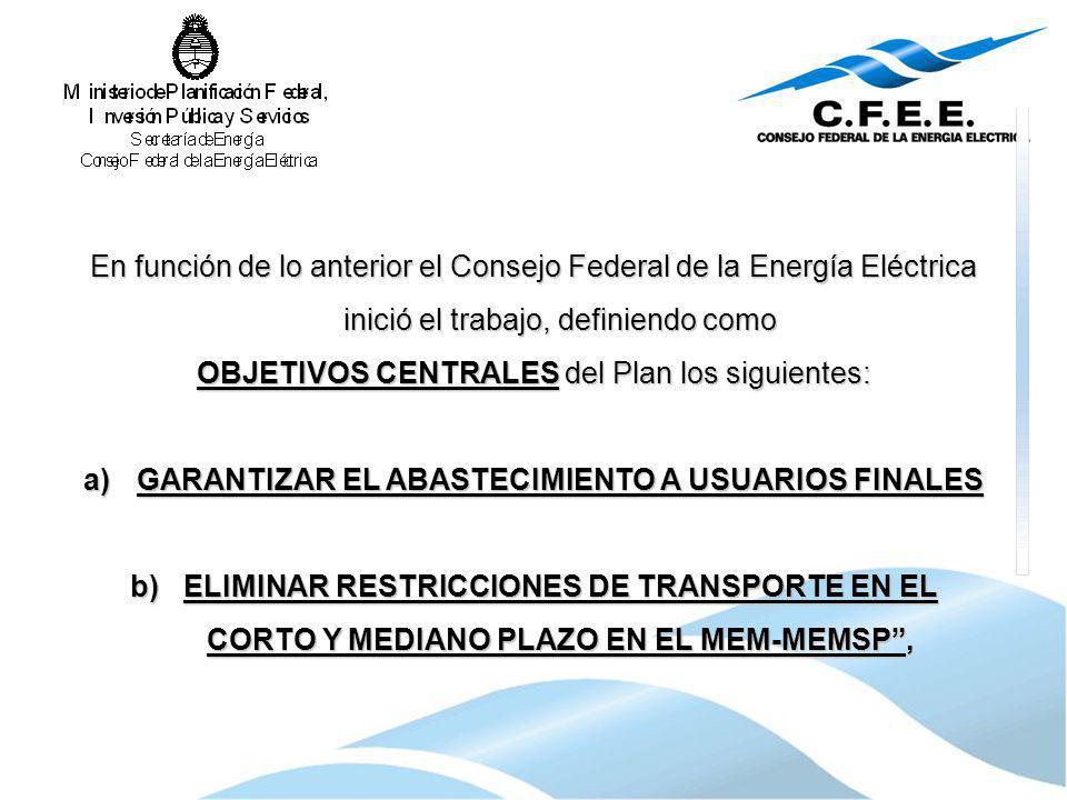 En función de lo anterior el Consejo Federal de la Energía Eléctrica inició el trabajo, definiendo como OBJETIVOS CENTRALES del Plan los siguientes: a
