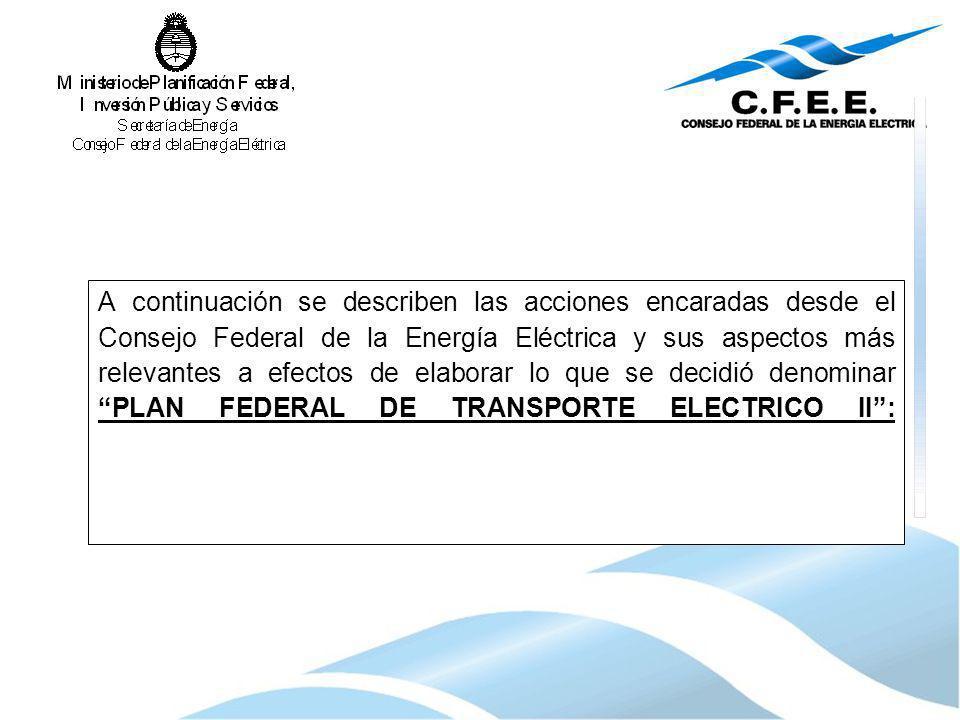 A continuación se describen las acciones encaradas desde el Consejo Federal de la Energía Eléctrica y sus aspectos más relevantes a efectos de elabora