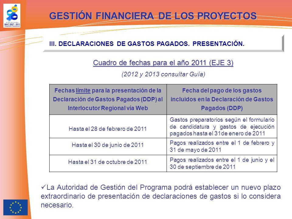 GESTIÓN FINANCIERA DE LOS PROYECTOS III. DECLARACIONES DE GASTOS PAGADOS. PRESENTACIÓN. Fechas límite para la presentación de la Declaración de Gastos