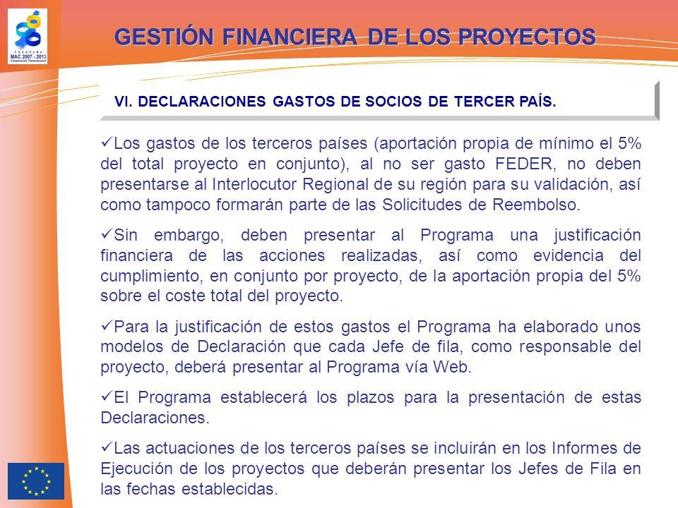 GESTIÓN FINANCIERA DE LOS PROYECTOS VI. DECLARACIONES GASTOS DE SOCIOS DE TERCER PAÍS. Los gastos de los terceros países (aportación propia de mínimo
