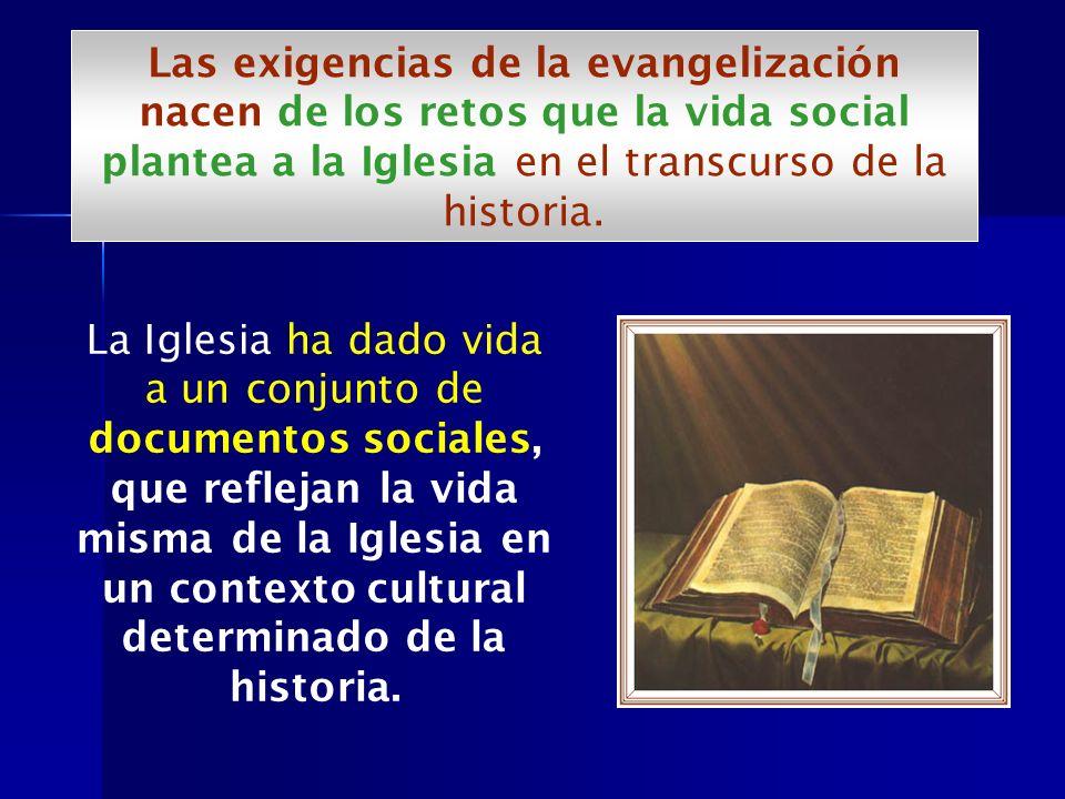 La Iglesia ha dado vida a un conjunto de documentos sociales, que reflejan la vida misma de la Iglesia en un contexto cultural determinado de la histo