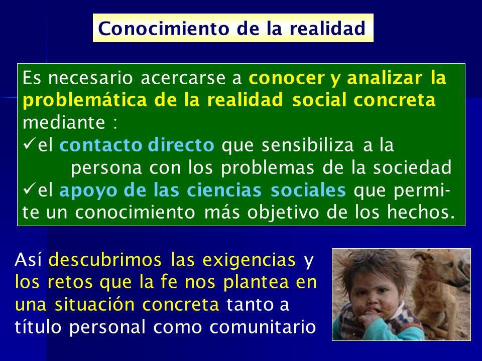 Conocimiento de la realidad Es necesario acercarse a conocer y analizar la problemática de la realidad social concreta mediante : el contacto directo