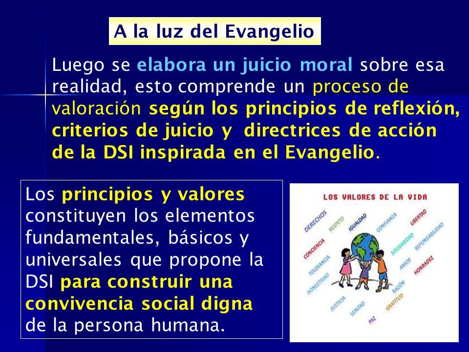 A la luz del Evangelio Luego se elabora un juicio moral sobre esa realidad, esto comprende un proceso de valoración según los principios de reflexión,