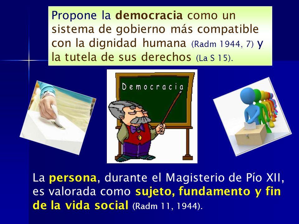Propone la democracia como un sistema de gobierno más compatible con la dignidad humana (Radm 1944, 7) y la tutela de sus derechos (La S 15). La perso