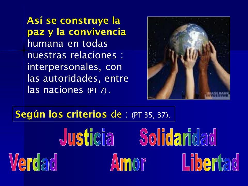 Así se construye la paz y la convivencia humana en todas nuestras relaciones : interpersonales, con las autoridades, entre las naciones (PT 7). Según