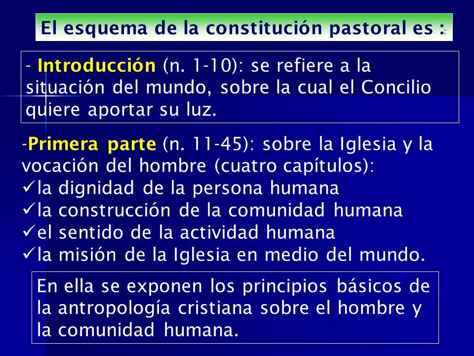 El esquema de la constitución pastoral es : : - Introducción (n. 1-10): se refiere a la situación del mundo, sobre la cual el Concilio quiere aportar