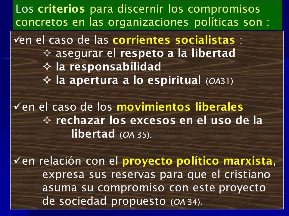 en el caso de las corrientes socialistas : asegurar el respeto a la libertad la responsabilidad la apertura a lo espiritual (OA31) en el caso de los m