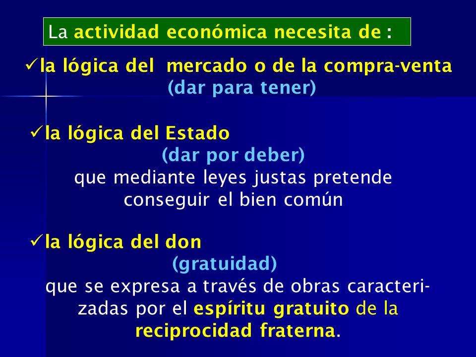 La actividad económica necesita de : la lógica del mercado o de la compra-venta (dar para tener) la lógica del Estado (dar por deber) que mediante ley