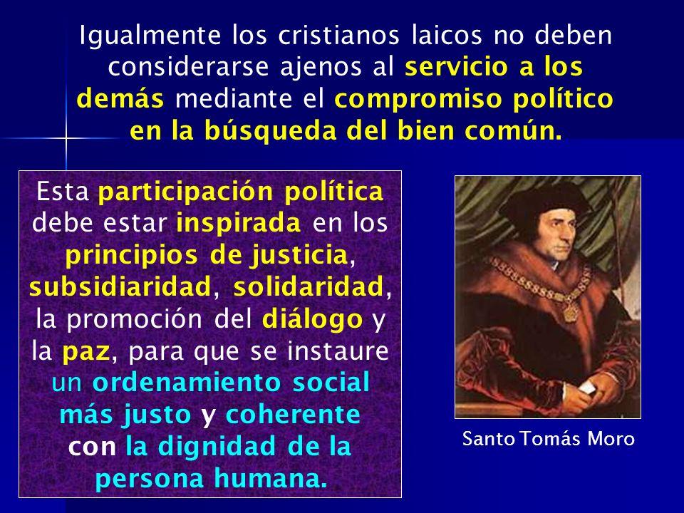 Esta participación política debe estar inspirada en los principios de justicia, subsidiaridad, solidaridad, la promoción del diálogo y la paz, para qu