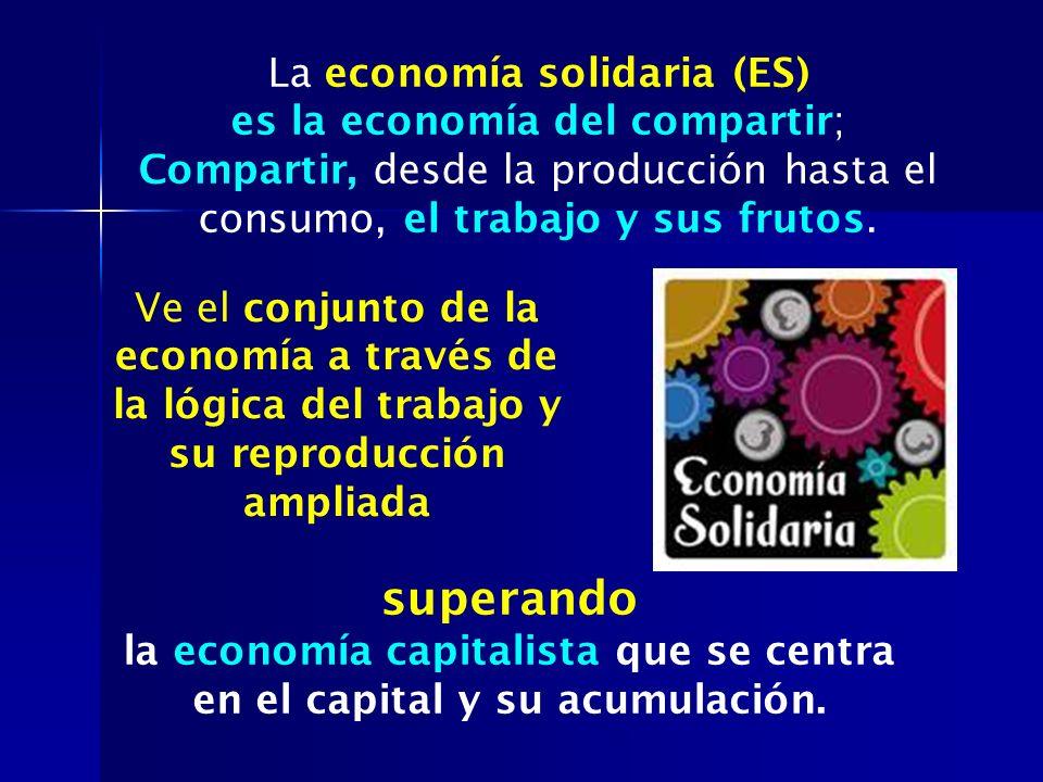 La economía solidaria (ES) es la economía del compartir; Compartir, desde la producción hasta el consumo, el trabajo y sus frutos. Ve el conjunto de l