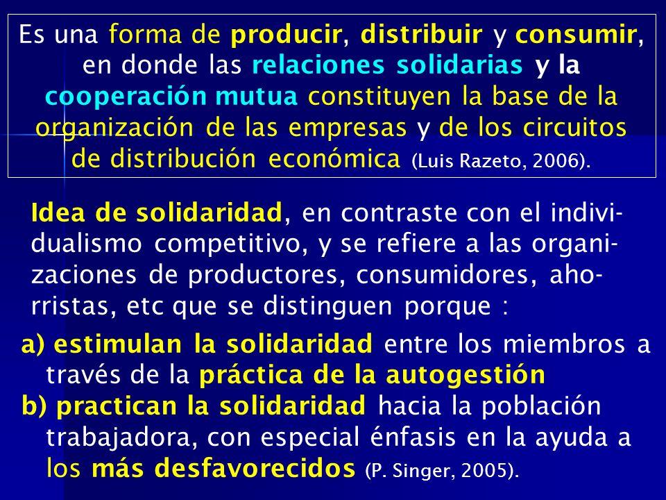 a) estimulan la solidaridad entre los miembros a través de la práctica de la autogestión b) practican la solidaridad hacia la población trabajadora, c